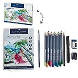 Faber-Castell FC114614AZ Goldfaber Aqua - Juego de 12 lápices de Colores para Acuarela (Incluye rotulador, lápiz, Bloc de Acuarelas, sacapuntas, Goma de borrar y Pincel de Acuarela)