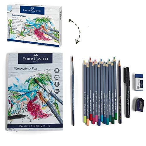 Faber-Castell Goldfaber Aqua Watercolor Gift Set - Watercolor Pencils for Adults, Includes Watercolor Paper and Accessories