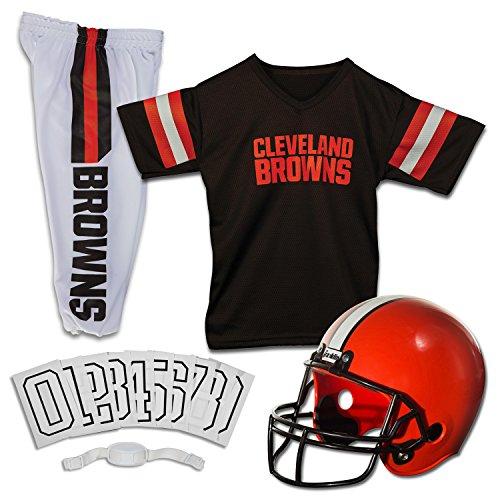 Franklin Sports Deluxe NFL-Style Jugend Uniform - NFL Kids Helm, Trikot, Hose, Kinnriemen und Aufbügler Zahlen enthalten - Fußball Kostüm für Jungen und Mädchen Gr. M, Cleveland Browns