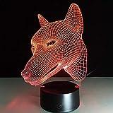2D Acryl Hund Wolf Gesicht 3D Optische Täuschung Stimmungslicht 7 Farben Ändern Lava Lampe Kinder Nachtlicht Neuheit Geschenke Keine Fernbedienung