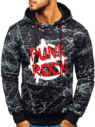 BOLF Herren Kapuzenpullover Sweatshirt mit Aufdruck Kapuze Hoodie Street Style J.Style 11066 Schwarz M [1A1]