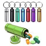 INTVN Mini Pillenbox Pillendose Schlüsselanhänger, 8er Set Mini Pillenbox, Schlüssel-Anhänger Mini AufbewahrungsBox klein Kapsel wasserdichte Tablettendose, 1,4 x 4,8 cm&7,5 x 2,2 cm, 7 farbig