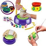 conqueror Kit de Tour de potier pour débutants pour Enfants avec peintures et Outils d'argile Jouet de Bricolage pour Enfants (Multicolore)