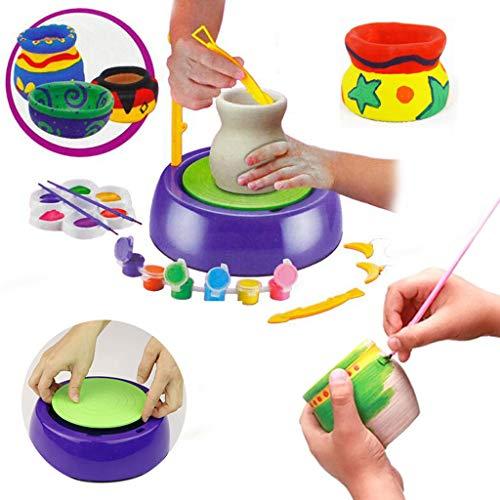 MMLC Wheel Töpfer Werkstatt - Premium Töpferei Set (Ton, Farben, Drehscheibe, viel Zubehör) Bastelspiel Töpferscheibe - kreatives Spielzeug für Kinder (A)