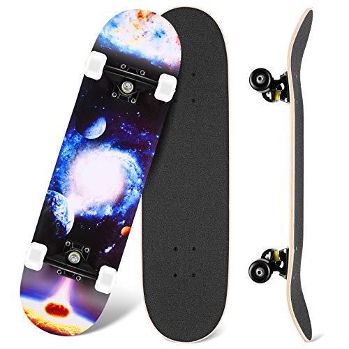 WeSkate Skateboard Complet, 80 x 20 cm Planche à Roulette pour Les débutants 7 Plis Double Kick Concave Planche de Skate Anti-Dérapant Roues PU Cruiser Board pour Les Enfants Jeunes et Adultes