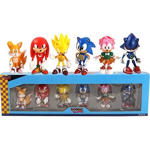 QIMA Sonic Figuras De Juguete 6-7cm 6pcs/Set Sonic Figures Toy Characters Sonic Shadow Tails PVC Generation Boom Rare Box-Packed Regalos para Niños Animales