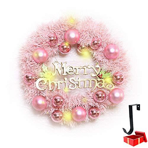 Rosa Ghirlande Natalizie Porta con Luci, Morbuy Artificiale Rattan 30cm con 50 LED Illuminata a Batteria Natale Decorazione per Porta Esterno Camino (30cm,Rosa)