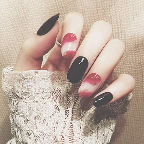 Simsly Glossy False Nails Mittelrot Schwarz Drücken Sie auf die Nägel Party False Nails Full Cover Sarg Gefälschte Nagelspitze für Frauen (24 Stück)