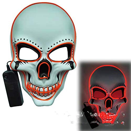 ACHICOO LED Halloween Scary Glow Skeleton Maske Cosplay Party Kostümzubehör rot
