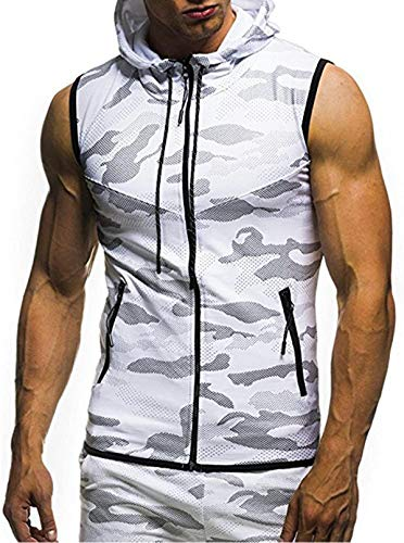 Mens Men's Sleeveless Workout Hoodie Gym Tank Tops Camouflage Slim Fit Sleeveless Zipper Tops Vest Blouse
