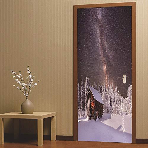 SZYUY deursticker muursticker muurstickers deur muur sneeuw blokhut Kerstmis muur deur Sticker voor kinderen kamers verwijderbare zelfklevende creatief ontwerp