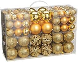 WOMA Christbaumkugeln Set in 14 weihnachtlichen Farben - 50 & 100 Weihnachtskugeln aus Kunststoff - Gold, Silber, Rot &...