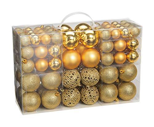 WOMA Christbaumkugeln Set in 14 weihnachtlichen Farben - 50 & 100 Weihnachtskugeln Gold aus Kunststoff - Gold, Silber, Rot & Bronze/Kupfer UVM. - Weihnachtsbaum Deko & Christbaumschmuck