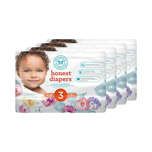 Price comparison product image Honest Baby Diapers,  Rose Blossom,  Size 3 (136 Count)