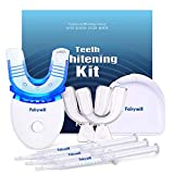 Fairywill Teeth Whitening Kit with Led Light for Sensitive Teeth,Teeth Whitening Kit, 35% Carbamide Peroxide 3ml(3) Gel Syringes with 5X Blue Light Accelerated, 2 Form Fitting Teeth Trays And A Case