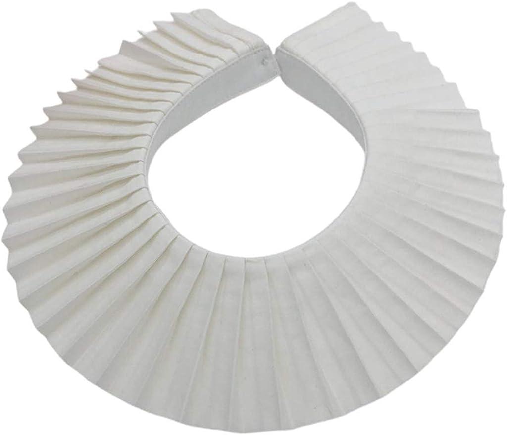YOUSIKE Detachable Necklace, Women Vintage Elegant Pleated White False Fake Collar Faux Pearl Button Detachable Choker Shawl Sweater Dress Decorative Cloak Accessories