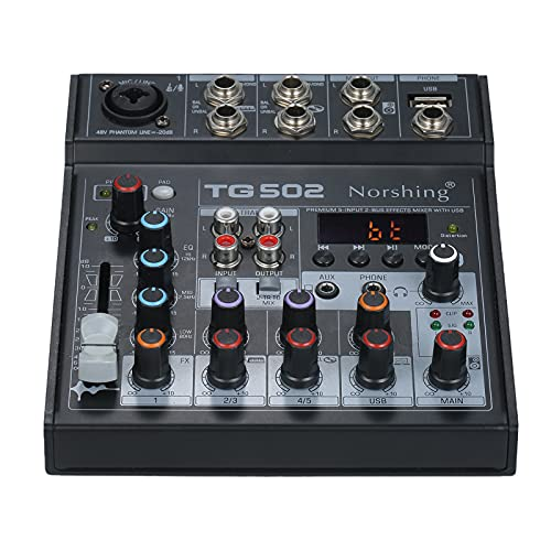 Norshing TG 502 USB-audiomixer, professionele audioixer 4-kanaals stereo soundboard consolesysteem USB BT MP3…