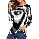 DQANIU Frauen Langarm Rundhals Basic T-Shirt Gestreifte Hemden Tunika Top Bluse