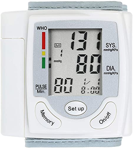 ZXCWE Monitor De Presión Arterial, Brazalete Automático De Presión Arterial para Uso Doméstico, Medidor De Pulso De Muñeca Digital, Esfigmomanómetro para El Hogar