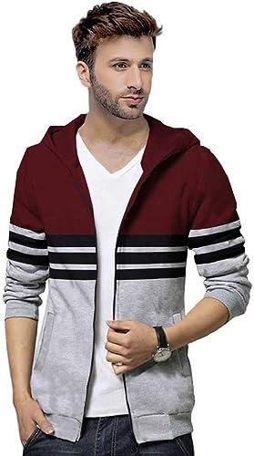 Full Sleeve Striped Men s Hooded Zipper Jacket Maroon Grey Hoodies Zipper Jacket
