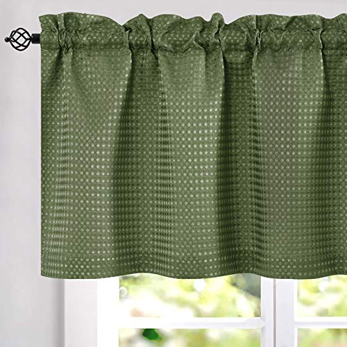 Olive Waffle Weave Cafe Sage Green Curtains Kitchen Window Curtain Valance 1 Panel 60 Width 18 inch Length
