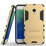 Ougger Handyhülle für Meizu M5 Hülle Schale Tasche, Extreme Schutz Schon [Kickstand] Leicht Armor Hülle Schutz SchutzHülle Hülle Hart PC + Soft TPU Gummi Haut 2in1 Back Gear Rear Gold