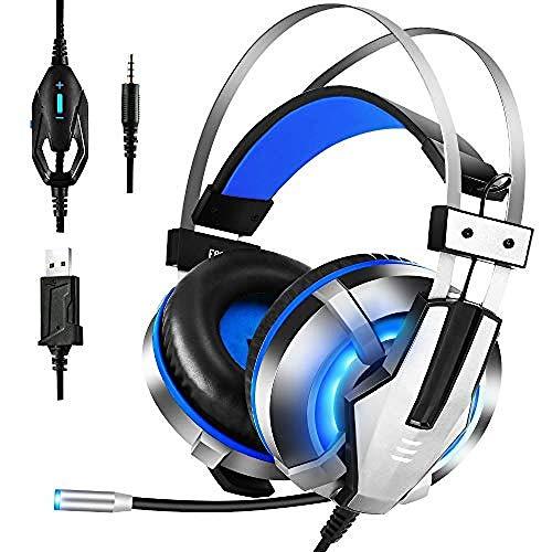 Auriculares Para Juegos Auriculares Usb 7.1 Virtuales Auriculares Con Cable Sobre La Oreja De 3.5 Mm Con Micrófono Led Enchufable Para Teléfono / Pc Azul