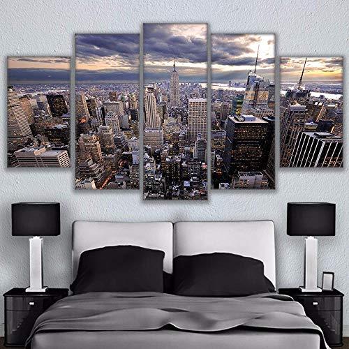 wjdymx canvasdruk modulaire abstracte muurkunst foto voor de woonkamer 5 panelen De Empire State Building decoratieve Hd Poster canvas schilderij
