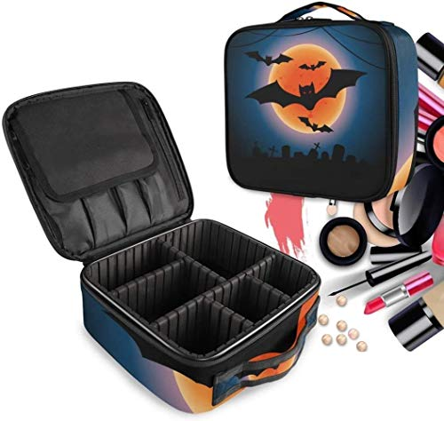 Cosmetische HZYDD Halloween vleermuis Maan make-up tas Toilettas Rits Make-up Tassen Organizer Pouch voor Gratis Compartiment Vrouwen Meisjes tas