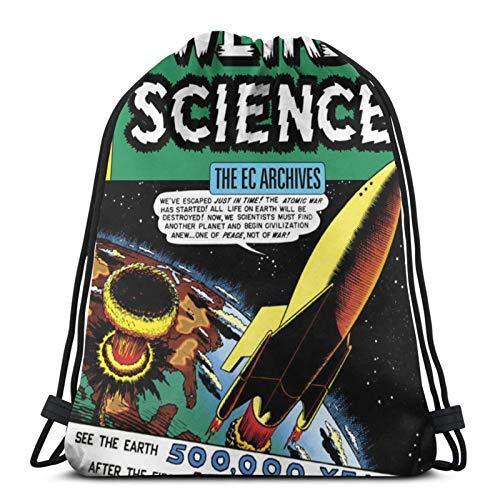 fenrris65 Weird Science Comics String Backpack Terylene for Men Women