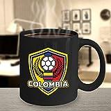 Taza de café de fútbol Colombia, 325 ml, taza de cerámica negra, regalo de fútbol, bandera de Colombia, idea de regalo de fútbol, regalo para jugador de fútbol