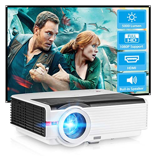 Movies HD Projector 6200lumen 1080P Home Theater Cinema LCD Video Projectors for Games with Built-in HiFi Speaker, Multimedia HDMI USB VGA Audio Outdoor TV Proyector DVD Laptop TV Box PS4