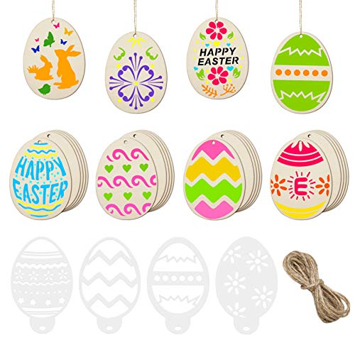 40 Pcs Wooden Easter Egg Cutouts Wood Slice Unfinished Wooden Craft Wood Bunny Ornament with Holes Hang Tags, Stencils Template, Twine for Kids DIY Easter Decorations Party Favor Supplies Decor