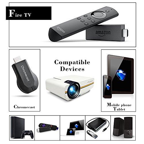 ELEPHAS LED Mini proyector de vídeo, con 1200luminoso eficiencia apoyo 1080P portátil Pico Proyector ideal para cine en casa cine Movie Entretenimiento juegos partes, color blanco