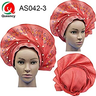 Lace Fabric African | As042 Fashional African Already Made Headtie Colorful Stones and Beads Women Auto Gele for Party Or Wedding | by CLAIRE