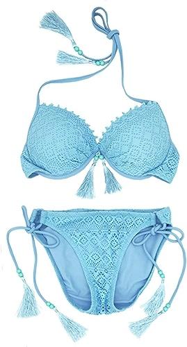 QYLOZ Bikini Bleu Sexy Trois Points Taille Poitrine Anneau en Acier Parcravate Spa Maillots De Bain Femmes Maillots de Bain (Taille   S)