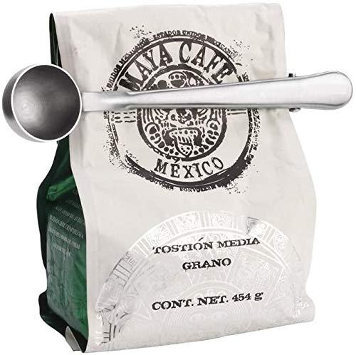 Theelepel, roestvrij staal, zilver, multifunctioneel, theelepel, poedermelk saus lepel kruid lepel, ijs scoop met afdichting clip, geschikt voor instantdranken