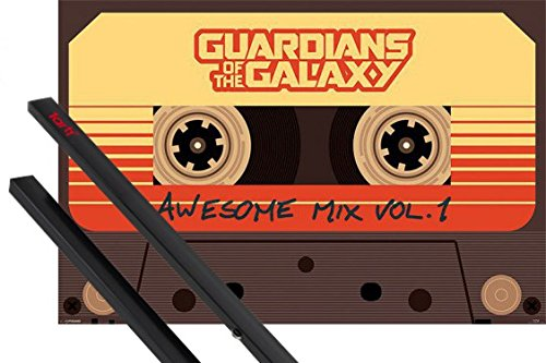 1art1 Guardianes De La Galaxia Póster (91x61 cm) Awesome Mix Vol 1 Y 1 Lote De 2 Varillas Negras