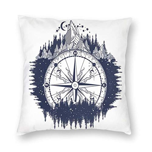 Decorative Cushion Covers with Antique Compass In The Night Forest Tattoo Art In Boho Style Travel,for Sofa Office Decor Cotton and Linen Cushion Covers 20*20Inch
