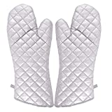 Godskitchen 17' (Set of 2) Cotton Silver Coated Extra Long Oven Mitts,Quilted Cotton Lining,Heat Resistant for Kitchen Cooking,Grilling,Baking 100% Cotton