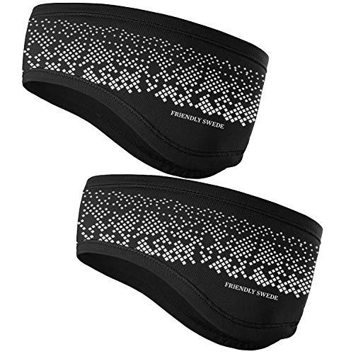 Stirnband 2-er Set - Kopfband, Headband für optimalen Ohrenschutz beim Jogging, Laufen, Wandern, Fahrrad- und Motorrad fahren - Stirnbänder für Damen und Herren (Standard Schwarz Reflektierend)