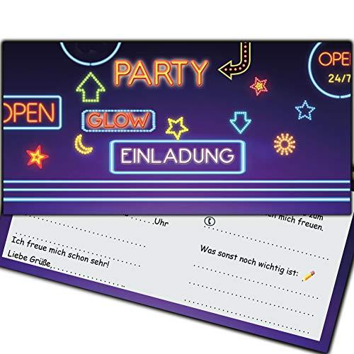 Einladungskarten Neon Glow Party Schwarzlichtparty Geburtstag Kinder Erwachsene Kindergeburtstag Feier Neonparty Einladung Geburtstagseinladung Schwarzlicht