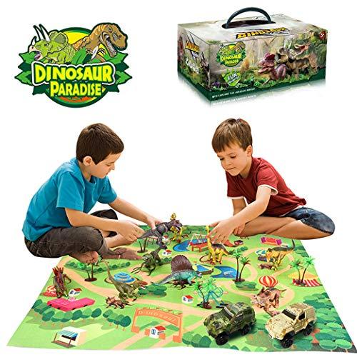 Yeelan Set de Figuras de Juguete de Dinosaurio con Tapete de Juego y Autos, Juego de Dragón Dino World Dragon con Tapete de Alfombra, Juguetes Educativos para Niños
