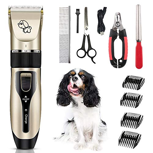 Lechnical Pets Dog Cat Electric Clipper Dog Grooming Kit Dog Trimmer for Small Dogs Cats USB Rechargeable Low Noise Powerful Motor