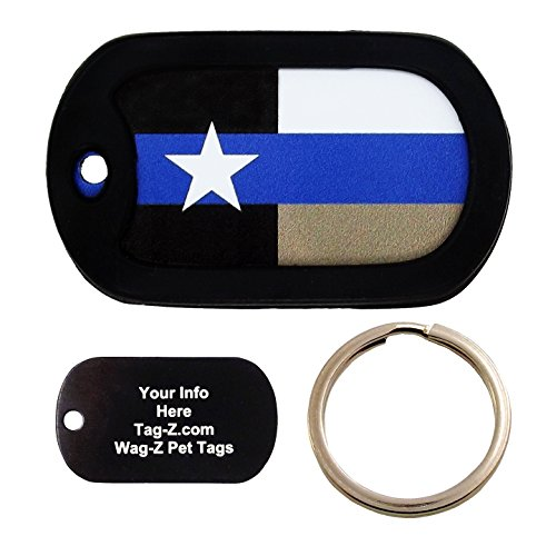 Custom Engraved Pet Tag - Texas Thin Blue Line Flag - Dog Tag - Tag-Z Wag-Z