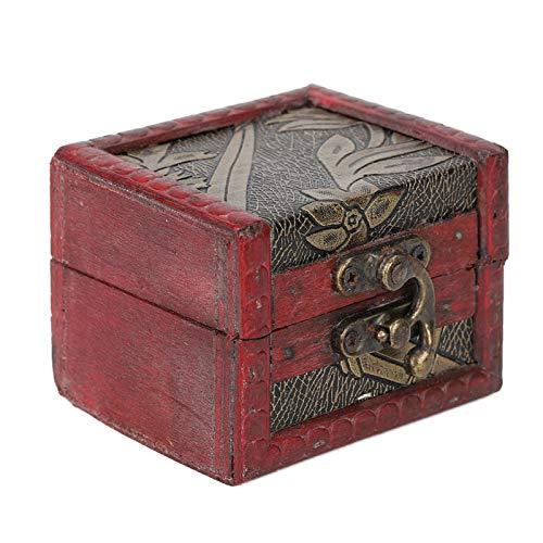 Joyero de madera vintage decorativo Lock Candy regalo de boda, estuche de regalo [uvas doradas], joyero de madera, joyero, joyero, almacenamiento de joyas