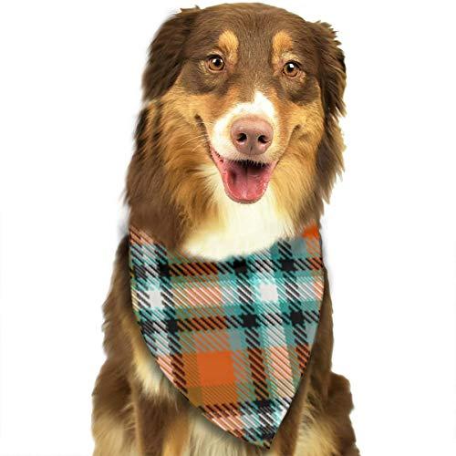 Liliylove Halstuch für Hunde und Katzen, warmes Stewart Plaid in senffarbenem Orange, wendbar