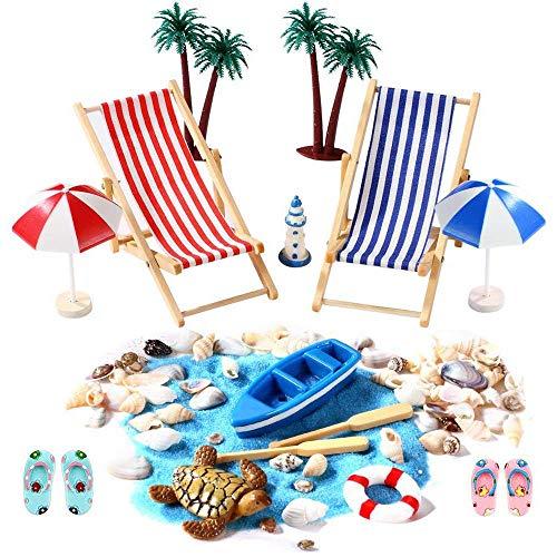 IWILCS Juego de 15 piezas de decoración en miniatura, minidecoración de playa, decoración de playa, casa de muñecas y decoración de plantas