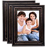 Bamber Wood Picture Frames 8x10 Picture Frame Set Rustic Picture Frames Black Picture Frames Vintage Wedding Family Wall Wooden Picture Frames, Pack of 3