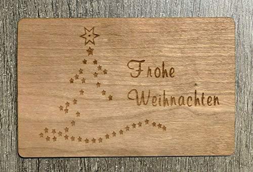 Grußkarte aus Holz Geschenk Karte Weihnachtskarte X Mas Frohe Weihnachten Sterne Baum Geschenkkarte Geschenk Holzkarte
